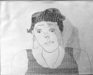 """""""Self Portrait in Veil"""", 1990 - Graphite"""