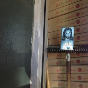 Photo of a Pizza Restaurant in Hollywood with Jesus in Blue
